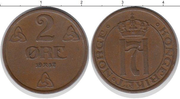 Картинка Монеты Норвегия 2 эре Бронза 1937