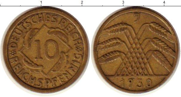 Картинка Монеты Веймарская республика 10 пфеннигов Латунь 1930