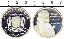 Изображение Монеты Сомали 10.000 шиллингов 1999 Серебро Proof Исаак  Ньютон