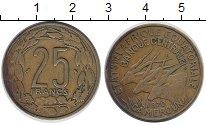 Изображение Монеты Камерун 25 франков 1970 Латунь XF- Антилопы