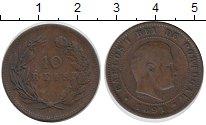 Изображение Монеты Португалия 10 рейс 1891 Бронза VF Карлос I