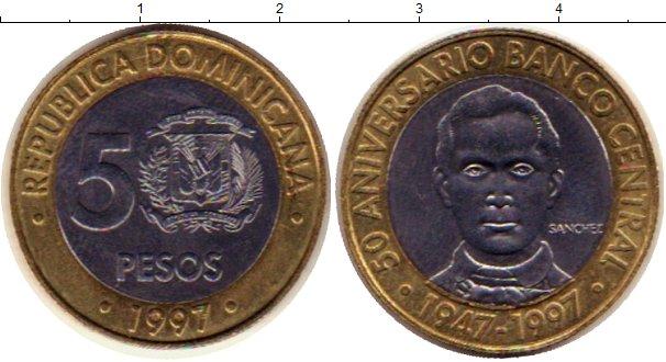 Картинка Монеты Доминиканская республика 5 песо Биметалл 1997