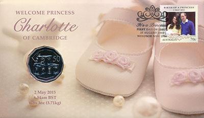 Изображение Подарочные монеты Австралия 50 центов 2015  UNC Рождение принцессы Ш