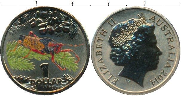 Набор монет Австралия 1 доллар Латунь 2014 UNC фото 2