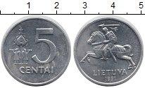 Изображение Монеты Литва 5 центов 1991 Медно-никель XF