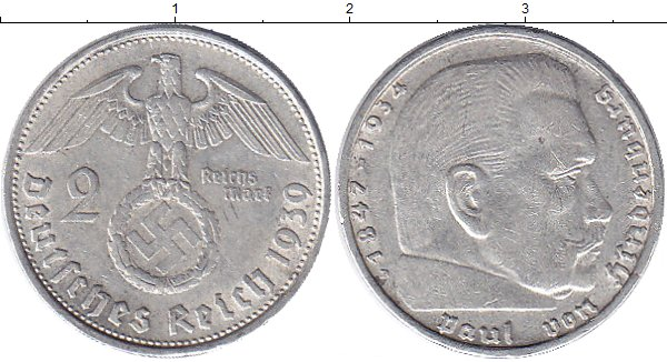 Картинка Монеты Третий Рейх 2 марки Серебро 1939