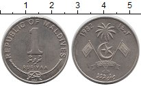 Изображение Монеты Мальдивы 1 руфия 1982 Медно-никель XF