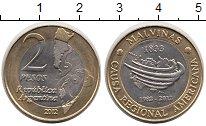 Изображение Монеты Аргентина 2 песо 2012 Биметалл UNC