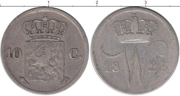 Картинка Монеты Нидерланды 10 центов Серебро 1825