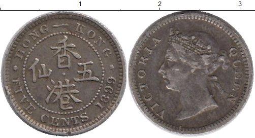 Картинка Монеты Гонконг 5 центов Серебро 1899