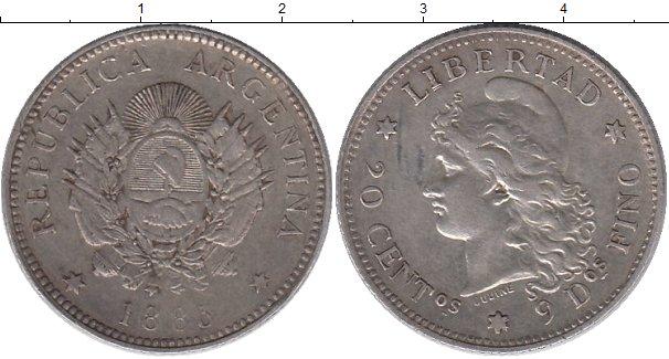 Картинка Монеты Аргентина 20 сентаво Серебро 1885
