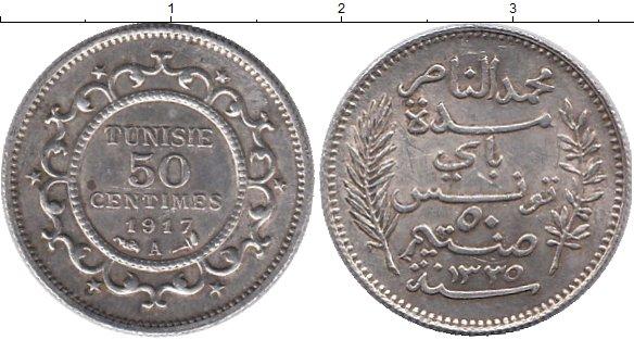 Картинка Монеты Тунис 50 сантим Серебро 1917