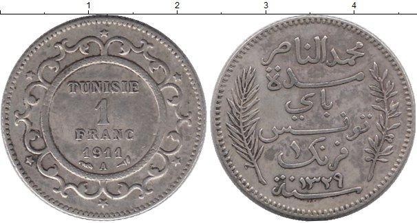 Картинка Монеты Тунис 1 франк Серебро 1911