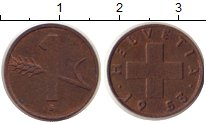Изображение Дешевые монеты Швейцария 1 рапп 1953 Медь XF