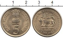Изображение Монеты Индия 5 рупий 2010 Латунь UNC- 75-летие резервного