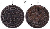 Изображение Монеты Тунис 5 сантим 1916 Бронза XF-