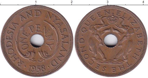 Картинка Монеты Родезия 1 пенни Бронза 1958