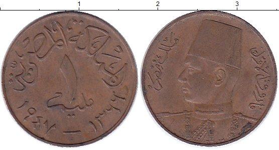 Картинка Монеты Египет 1 миллим Бронза 1947