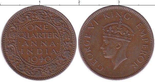 Картинка Монеты Индия 1/4 анны Бронза 1940