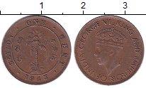 Изображение Монеты Шри-Ланка Цейлон 1 цент 1943 Бронза XF