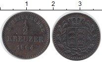 Изображение Монеты Германия Вюртемберг 1/2 крейцера 1864 Медь XF