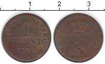 Изображение Монеты Германия Гессен 1 пфенниг 1861 Медь XF