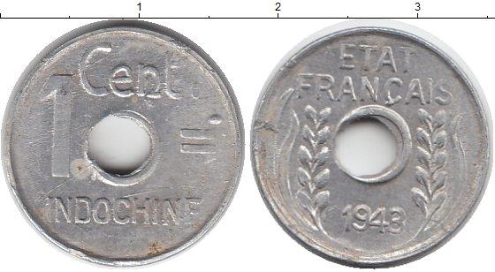 Картинка Монеты Индокитай 1 цент Алюминий 1943