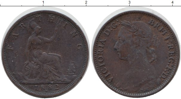 Картинка Монеты Великобритания 1 фартинг Бронза 1882