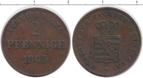 Картинка Монеты Саксен-Майнинген 2 пфеннига Медь 1865