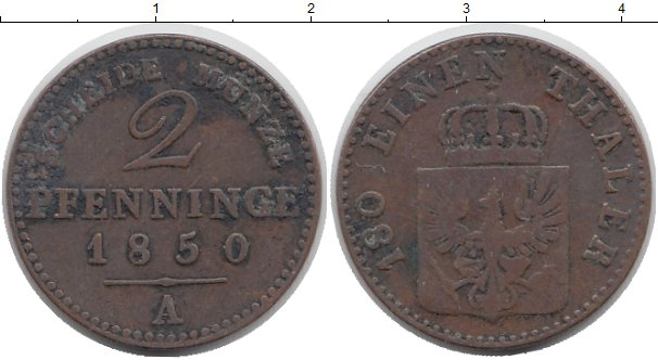 Картинка Монеты Пруссия 2 пфеннига Медь 1850