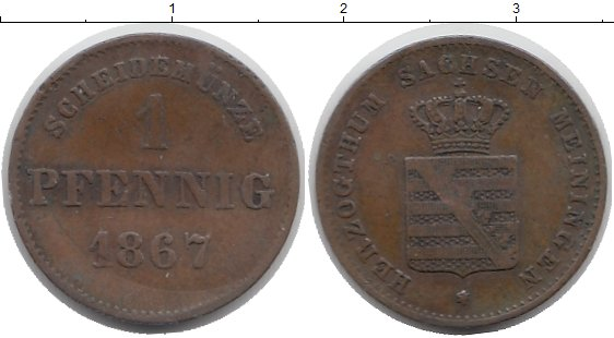Картинка Монеты Саксен-Майнинген 1 пфенниг Медь 1867