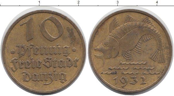 Картинка Монеты Данциг 10 пфеннигов Латунь 1932