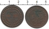 Изображение Монеты Тунис 5 сантим 1916 Бронза XF