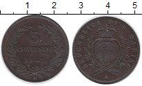 Изображение Монеты Сан-Марино 5 сентесим 1869 Медь XF
