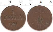 Изображение Монеты Финляндия 5 пенни 1866 Медь