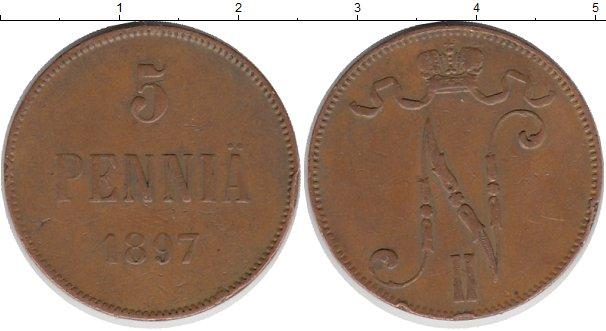 Картинка Монеты Финляндия 5 пенни Медь 1897