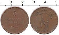 Изображение Монеты Финляндия 5 пенни 1911 Медь