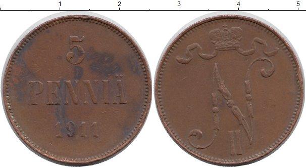 Картинка Монеты Финляндия 5 пенни Медь 1911