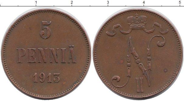 Картинка Монеты Финляндия 5 пенни Медь 1913