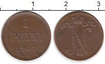 Изображение Монеты Финляндия 1 пенни 1907 Медь
