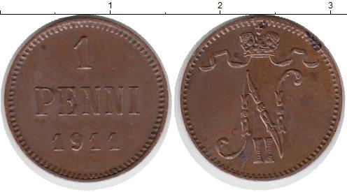 Картинка Монеты Финляндия 1 пенни Медь 1911