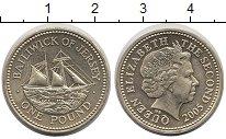 Изображение Монеты Остров Джерси 1 фунт 2005 Латунь UNC- Корабль