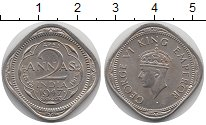 Изображение Монеты Индия 2 анны 1947 Медно-никель UNC- Георг VI