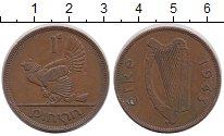 Изображение Монеты Ирландия 1 пенни 1943 Бронза XF Курица с цыплятами