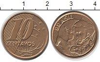 Изображение Дешевые монеты Бразилия 10 сентаво 2011 сталь покрытая латунью XF
