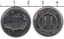 Изображение Дешевые монеты Исландия 1 крона 2011 Сталь AUNC