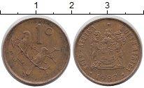 Изображение Дешевые монеты ЮАР 1 цент 1987 Бронза XF-