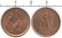 Изображение Дешевые монеты ЮАР 1 цент 1989 Бронза AUNC
