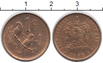 Изображение Дешевые монеты ЮАР 1 цент 1988 Бронза XF