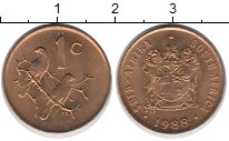 Изображение Дешевые монеты ЮАР 1 цент 1988 Бронза AUNC